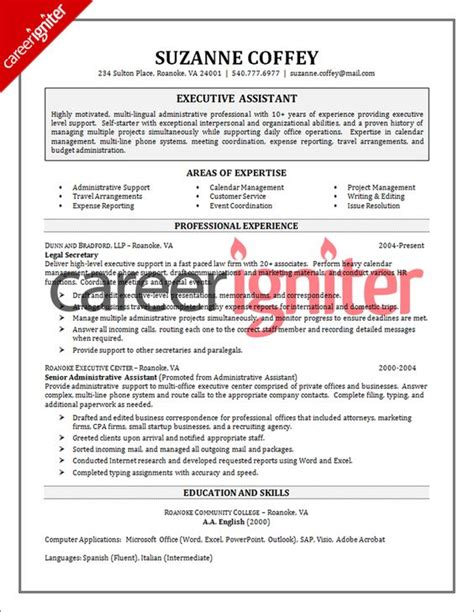 Company Resume by Executive Assistant Resume Sle By Www Riddsnetwork In