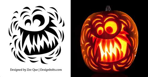 Scary Pumpkin Template by Free Scary Pumpkin Carving Stencils Patterns