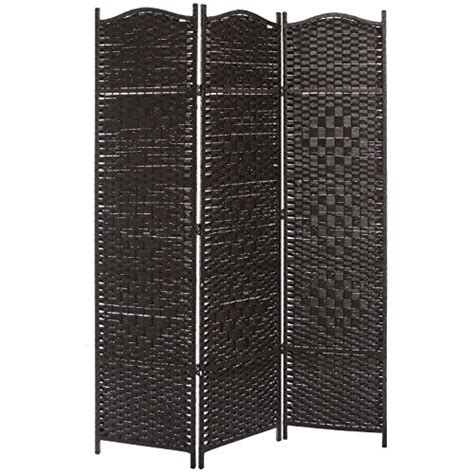 new 3 wood panel traditional bedroom screen folding room 3 panel dark brown wood bamboo woven room divider