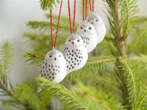 snowy owl christmas decorations set of 4 by