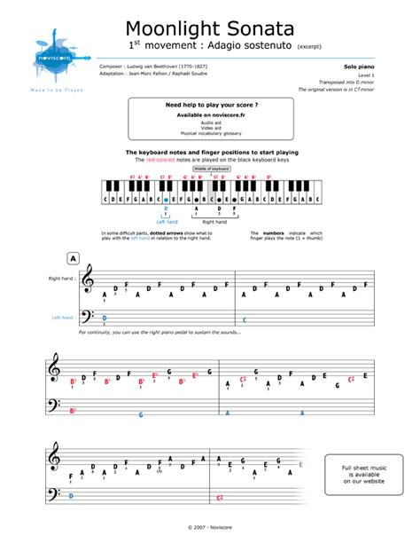 moonlight sonata easy to read piano tab method books free piano sheet moonlight sonata adagio ludwig