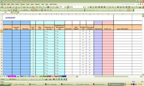 Profit Spreadsheet by Ebay Profit Loss Excel Spreadsheet