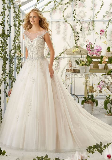 Beaded Wedding Gown by Beaded Embroidery On Tulle Wedding Dress Style