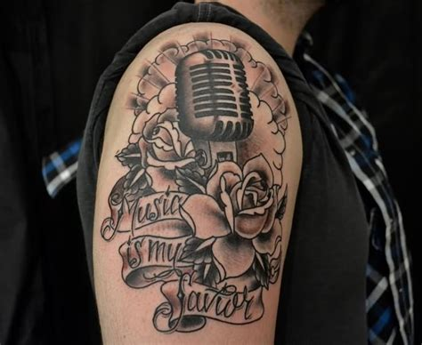microphone flower tattoo 35 microphone rose tattoos