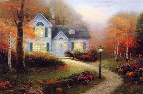 thomas kinkade kincaid pattern painting autumn light