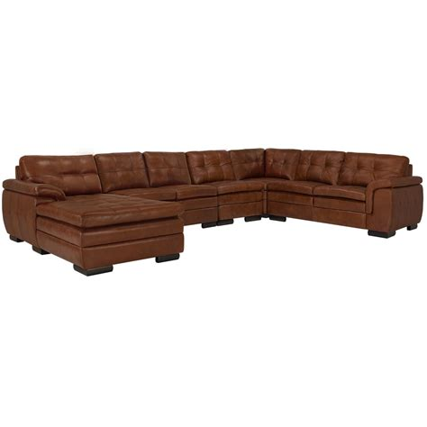 large brown leather sectional city furniture trevor medium brown leather large left