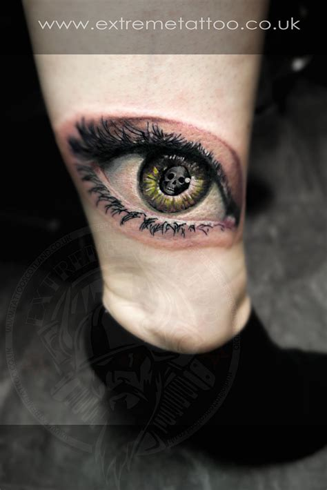 eye tattoo with skull eye tattoo skull reflection pupil color ankle foot extreme