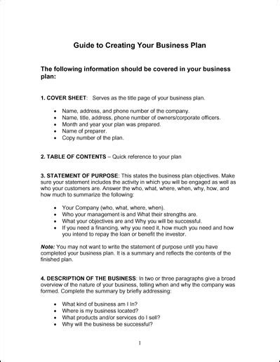 simple business plan template free word simple business plan template business