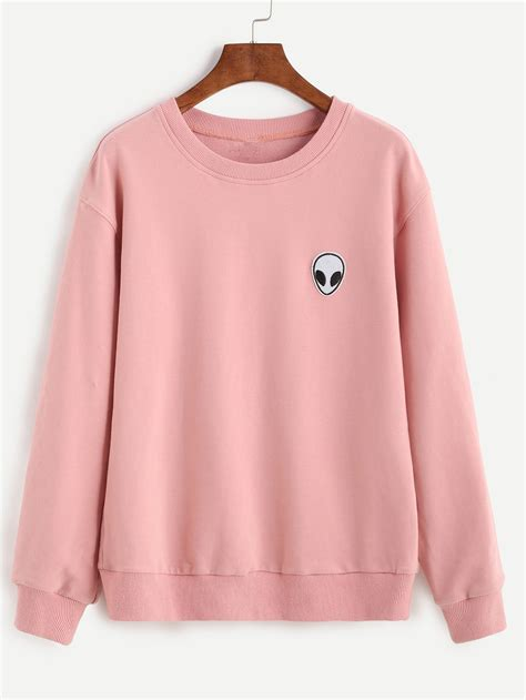 Mickey Dress With Patch Cut Out Shoulder pink drop shoulder sweatshirt with patch shein