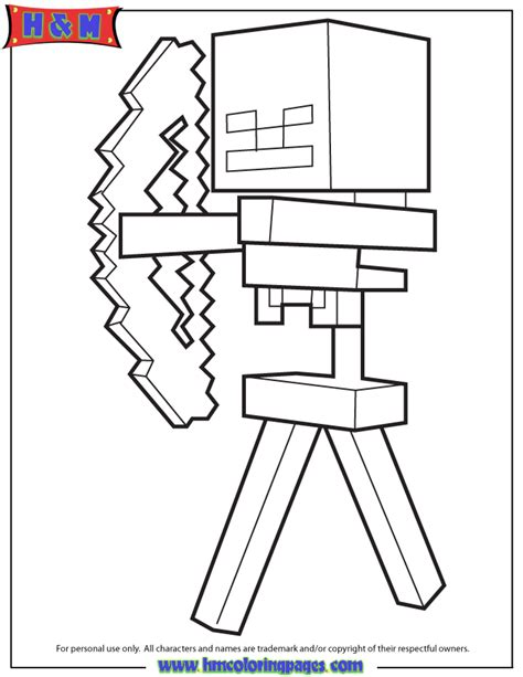 minecraft coloring pages mutant skeleton skeleton and arrow from minecraft game coloring page