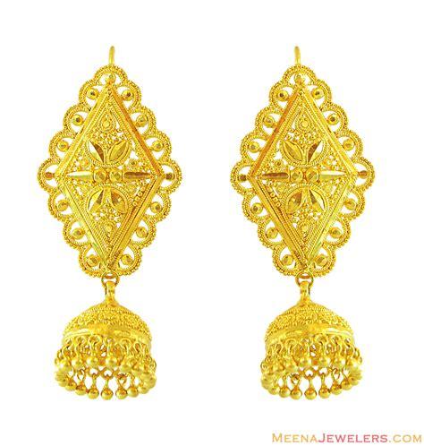 22k gold earrings designs 22k gold filigree earrings erfc12609 22k yellow gold