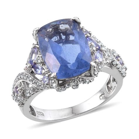 Change Topaz 1204 Ct color change fluorite white topaz tanzanite platinum sterling silver ring size 9 0 tgw