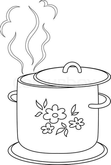 boiling water coloring page boiling pan with flower cover steam and support contours