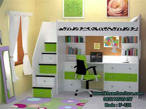 Tempat Tidur Kombinasi Meja Blajar model tempat tidur tingkat anak multifungsi terbaru murah ikhsan furniture jepara