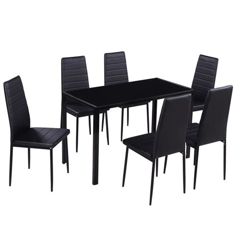 black dining sets with 6 chairs dining set 6 black chairs 1 table contemporary design vidaxl