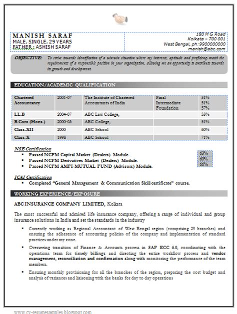 Experience Resume Format Doc 10000 Cv And Resume Sles With Free Best Chartered Accountant Resume Sle Doc
