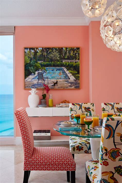 coral paint colors dining room tropical with miami themed old
