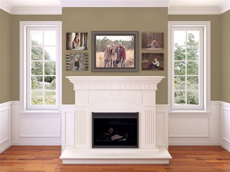 picture above fireplace family portrait wall collage above fireplace living room