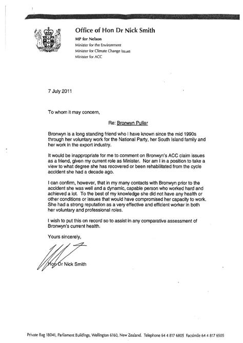 Support Letter Nz Nick Smith S Acc Whistleblower Support Letter Scoop News