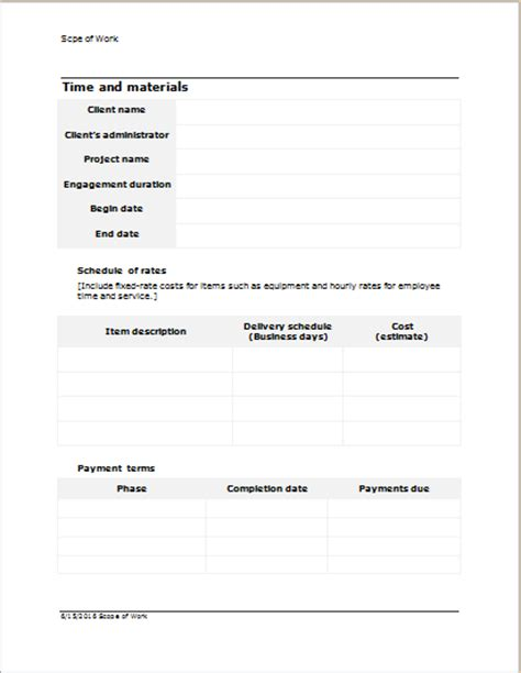 scope of work template for word word excel templates