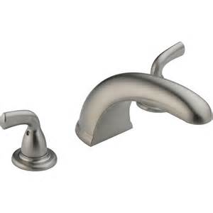 2 handle bathtub faucet shop delta classic stainless 2 handle adjustable deck mount bathtub faucet at lowes com