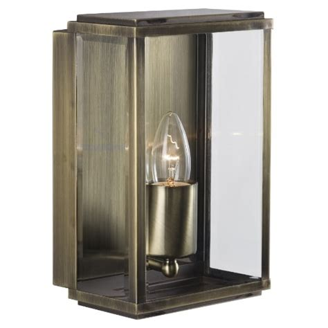 Box Outdoor Wall Light In Antique Brass With Bevelled Glass Outdoor Lighting Box