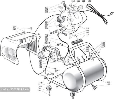 husky trim plus 3 gal portable air compressor h1503tp r parts