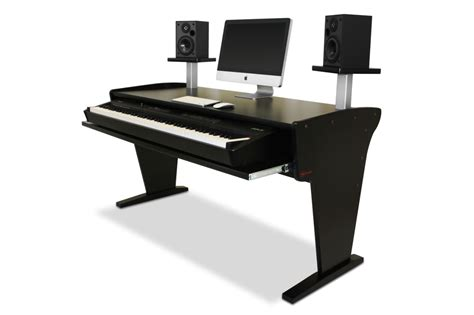 Bazel Studio Desk Spike 88 Nr With Speaker Stands In Black Studio Desks Workstations