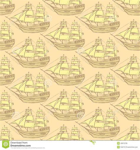 vintage pattern sketch sketch sea ship in vintage style stock illustration