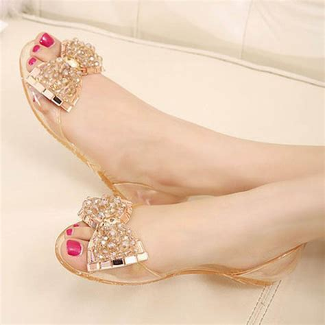 Flast Shoes Sandal Wanita Mg30 aliexpress buy summer sandals comfortable bow jelly sandals flat shoes