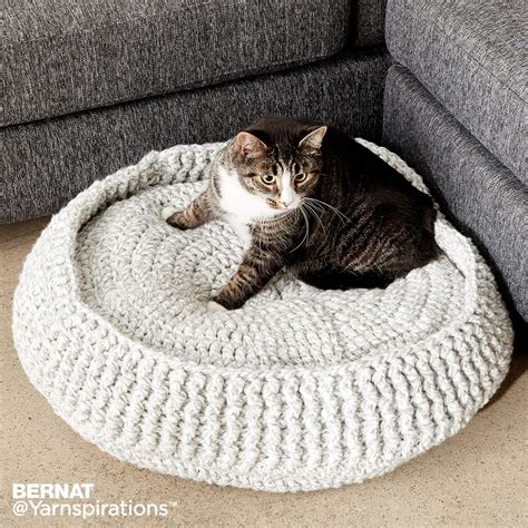 free crochet pattern cat bed bernat crochet pet bed crochet pattern yarnspirations