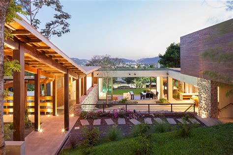 modern rustic home indoor outdoor home design multi level garden house in el