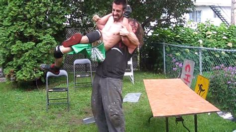 chw backyard wrestling table match phil knoxx vs chris vega 1st round chw