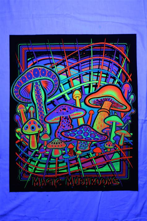 Black Light Tapestry by Magic Mushrooms Blacklight Uv Reactive Tapestry Fabric