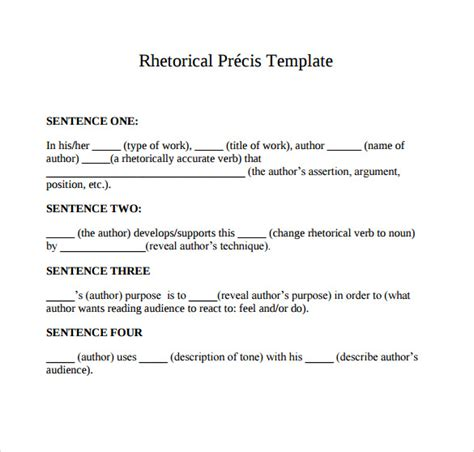 Rhetorical Precis Outline by Rhetorical Precis Template Madinbelgrade