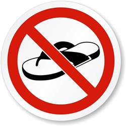 iso no open toed footwear thongs or sandals symbol sign