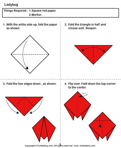How To Make Paper Ladybugs - paper folding crafts for bug origami for