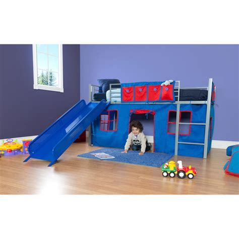 walmart kids beds boys twin loft bed with slide grey and blue walmart com