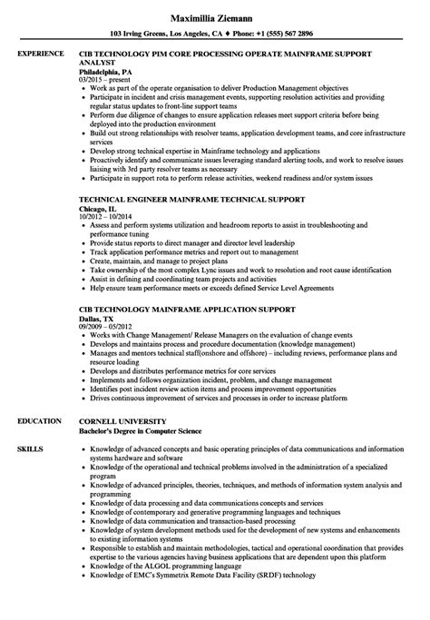 sle resume for mainframe production support mainframe support resume sles velvet