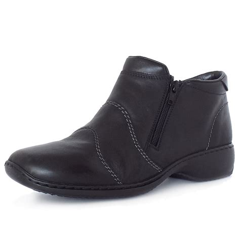 comfortable black ankle boots rieker river dance l3892 00 casual black leather boots