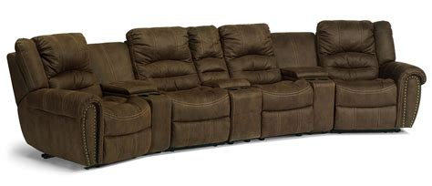 Reclining Sectional Sofas Flexsteel Latitudes New Town Curved Reclining Sectional Sofa With Storage Consoles Olinde S