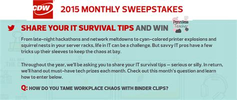 All You Monthly Sweepstakes - monthly itsurvival sweepstakes cdwcorp
