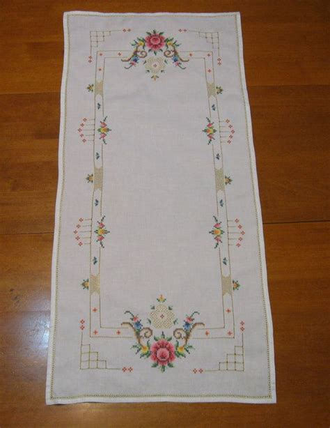 rose pattern joggers roses cross stitch table runner vintage linen soft