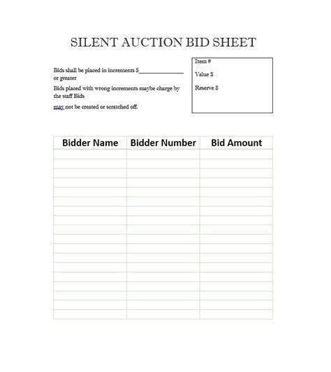 bid auction 40 silent auction bid sheet templates word excel