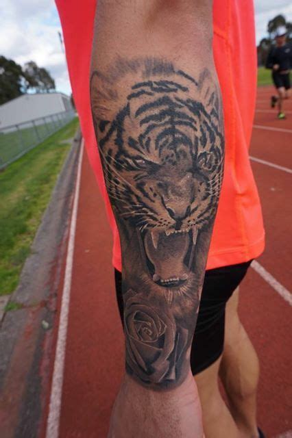 rose tr st tattoos tiger forearm sleeve ink black and grey realism