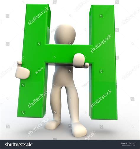 Character Holding Letter 3d human character holding green letter stock illustration