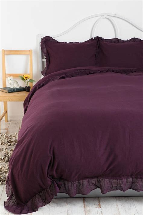 purple ruffle bedding edge ruffle duvet cover urban outfitters twin xl and
