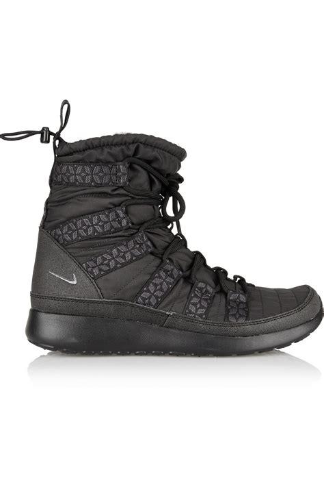 nike roshe run sneaker boot nike roshe run hi shell sneaker style boots in black lyst
