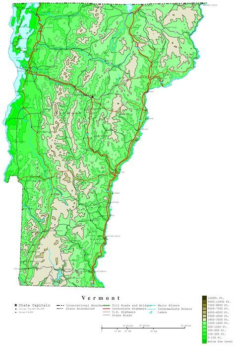 vt map vermont contour map