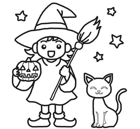 imagenes de halloween tiernas para colorear brujita y su gato dibujalia dibujos para colorear